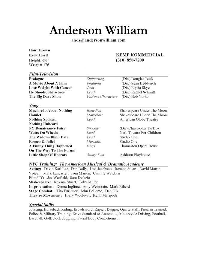 12 How To Write An Acting Resume Resume acting resume special ...