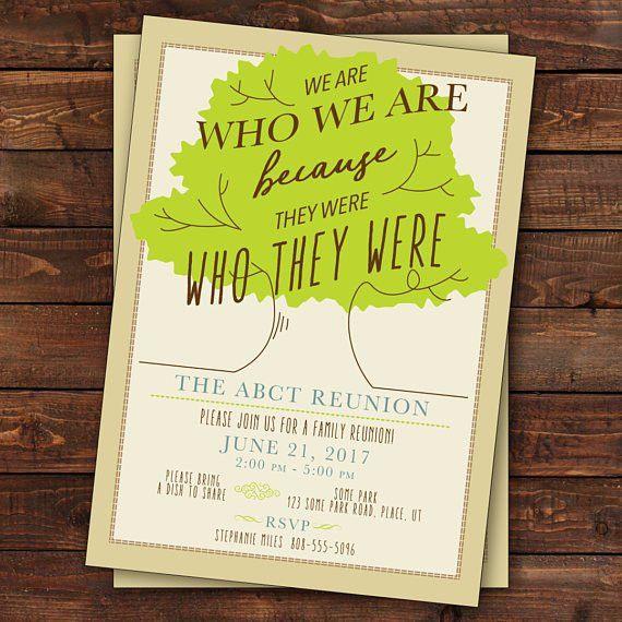 Family Reunion Invitation, Tree Family Reunion Invitation, Family ...
