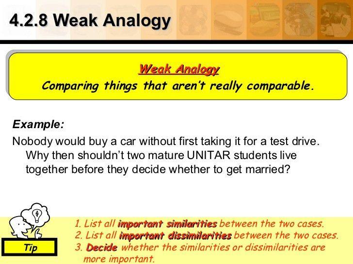 4.2.8 Weak Analogy <ul><li>Example: </li></ul><ul><li>Nobody