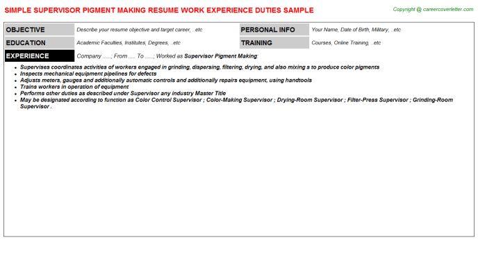 Supervisor Pigment Making Resume Sample
