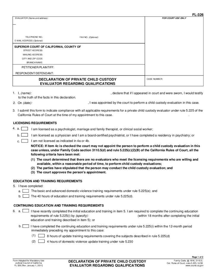 FL-326 Declaration of Private Child Custody Evaluator Regarding ...