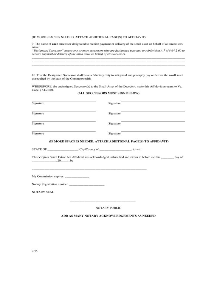 Virginia Small Estate Act Affidavit Free Download