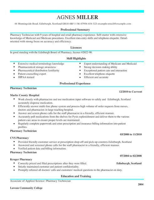 Pharmacy Technician CV Example for Healthcare | LiveCareer