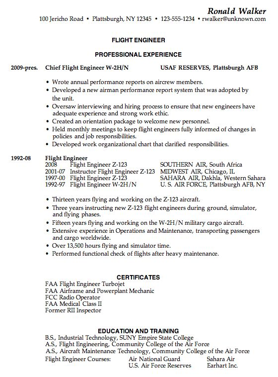 Resume Sample for a Flight Engineer - Susan Ireland Resumes