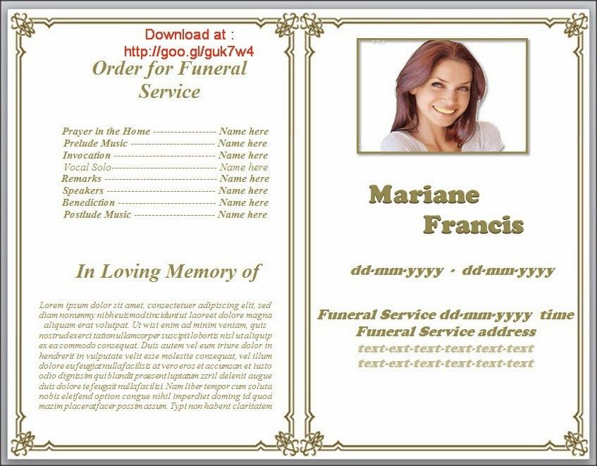 Funeral Pamphlet Templates Editable in Word in classic border ...