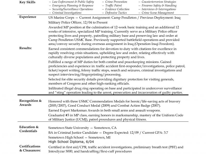 Military To Civilian Resume - Resume Example