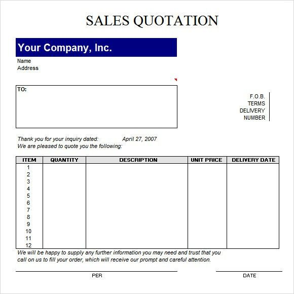 Quotation Template - 42+ Documents in PDF, Word, Excel
