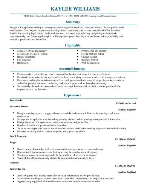 Download Sample Resume For Receptionist | haadyaooverbayresort.com
