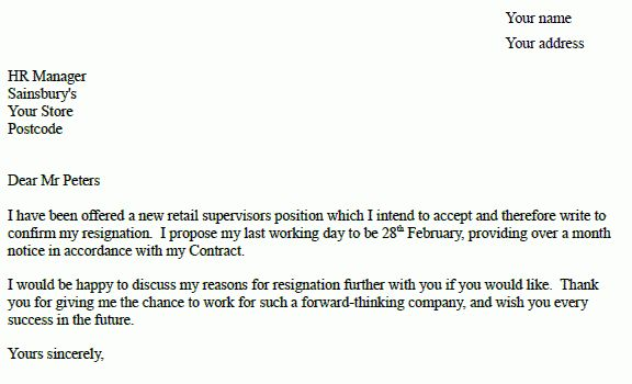 Sainsburys Resignation Letter Example - Resignation Letter Examples