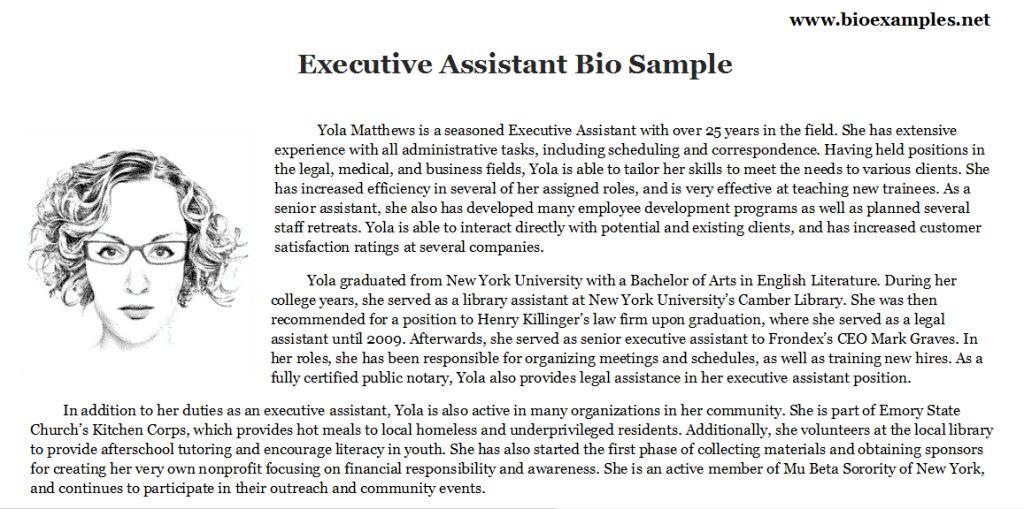 Executive Assistant Bio Esample | Bio Examples | Pinterest