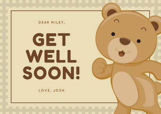 Adorable Brown Bear Get Well Soon Card - Templates by Canva