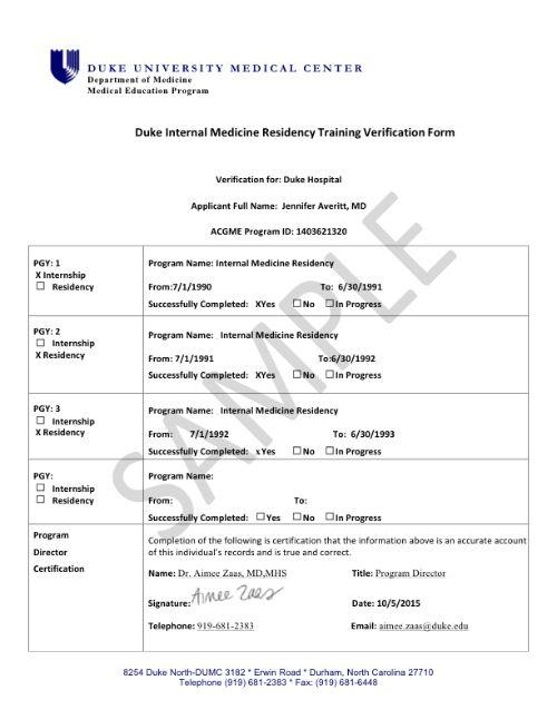 Verification of Training | medicine.duke.edu