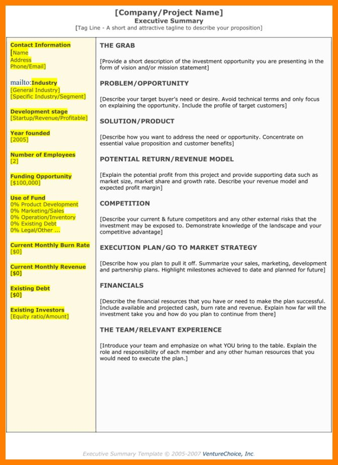 6+ executive summary template doc | letterhead format