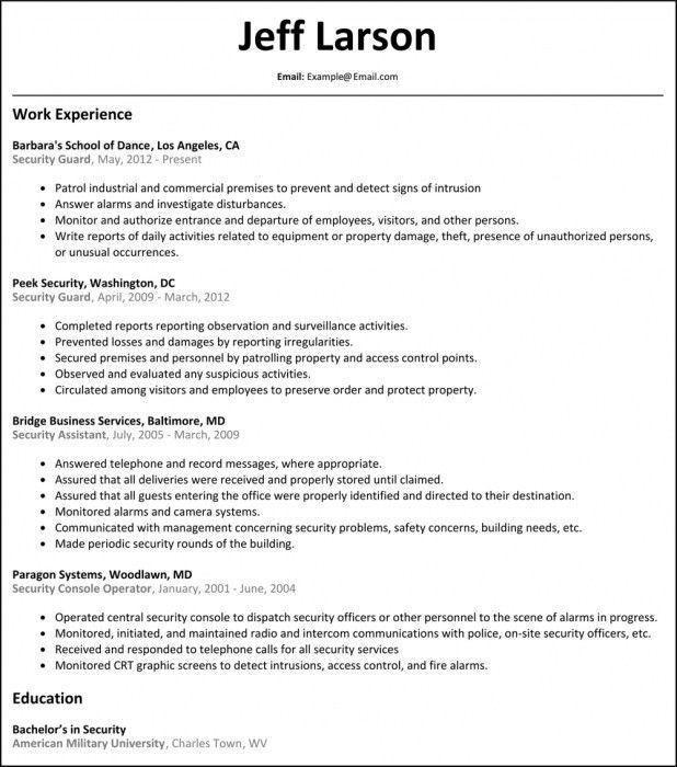 Stylish Sample Security Guard Resume | Resume Format Web