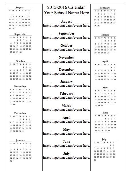 Education World: 2015-2016 School Year Calendar Template