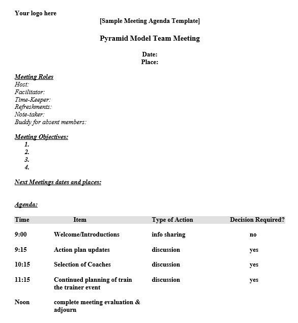 Agenda Format. 10+ Staff Meeting Letter Format | Science-Resume ...