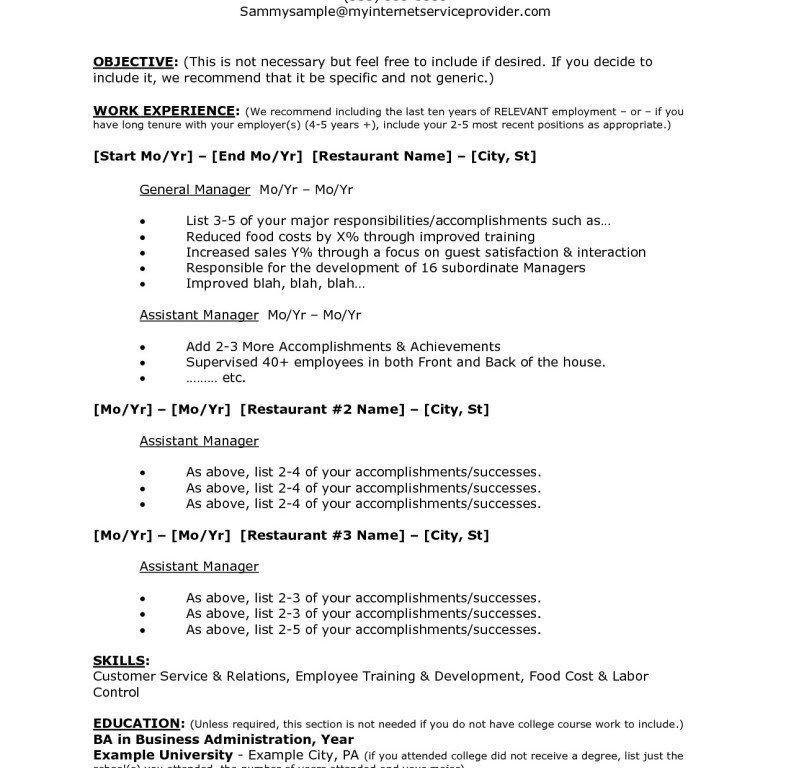 Winsome Ideas Restaurant Resume Templates 11 Template Elegant ...