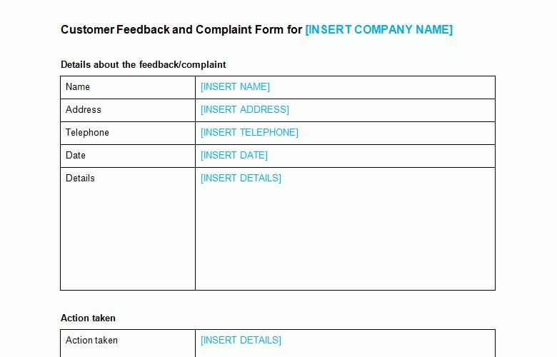 free complaint form template