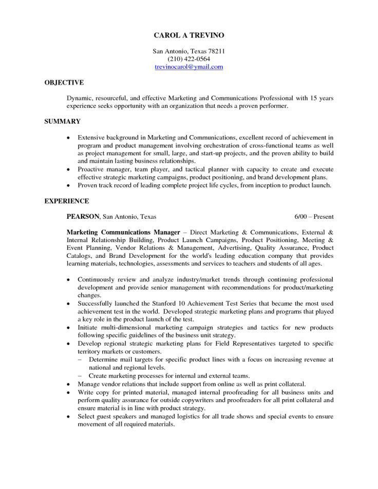 great marketing resume objectives examples images remarkable