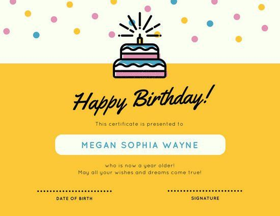 Yellow Cake Confetti Birthday Certificate - Templates by Canva