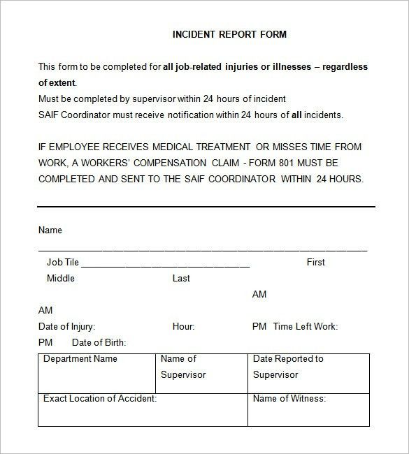 medical incident report form template