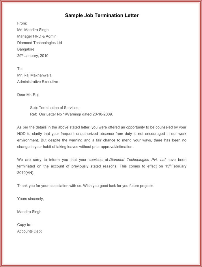 Employment Termination Letter Sample Due To Unauthorized Absence ...