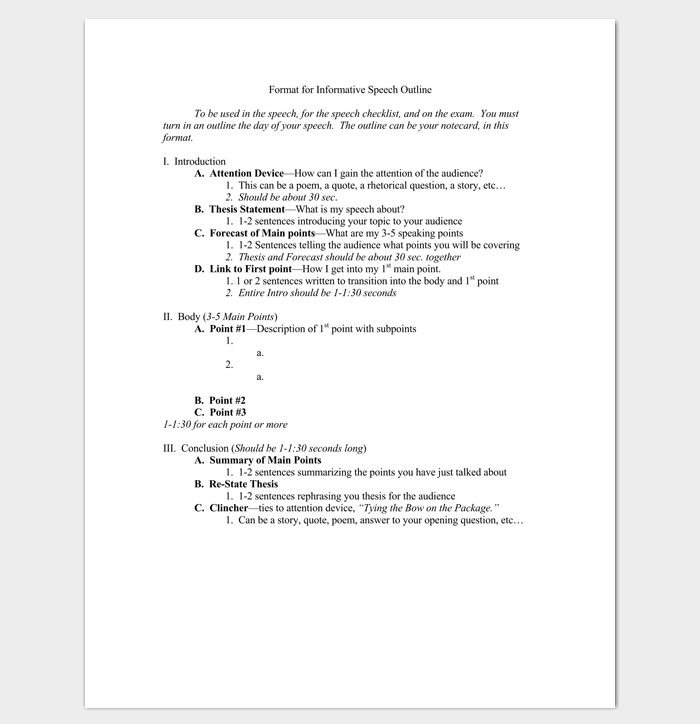Speech Outline Template - 38+ Samples, Examples and Formats