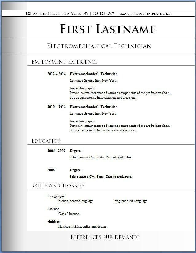 Free Printable Resumes Templates. Free Minimalistic Cv/Resume ...