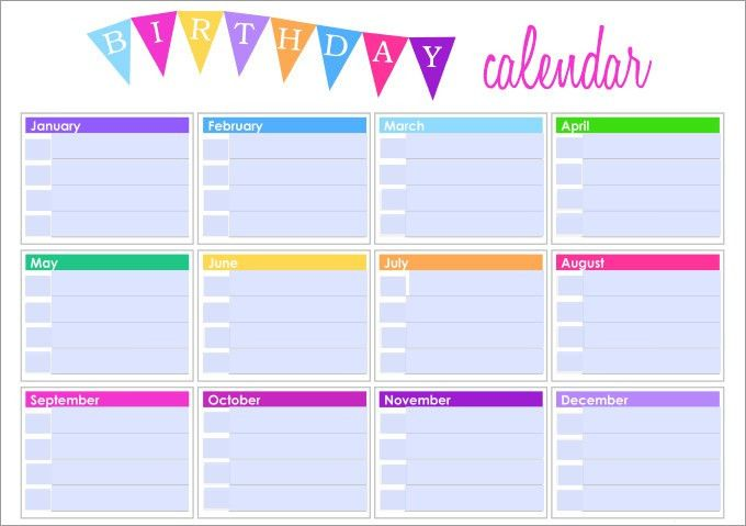 Birthday Calendar Templates | weekly calendar template