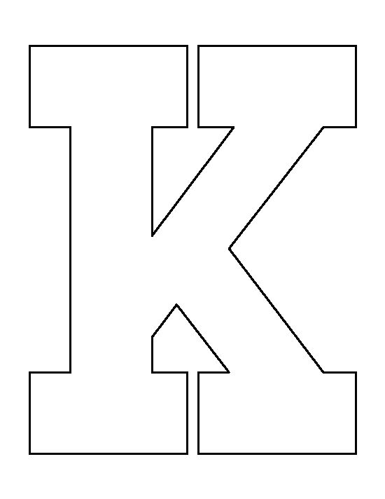 Letter K pattern. Use the printable outline for crafts, creating ...