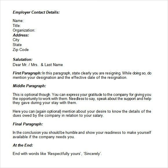 Resignation Letter Format: Business Format How To Sign A ...