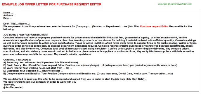 Purchase Request Editor Offer Letter