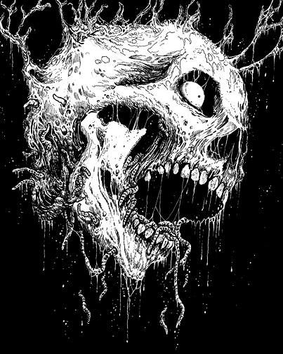 death metal art gruesome black and white skull drawings