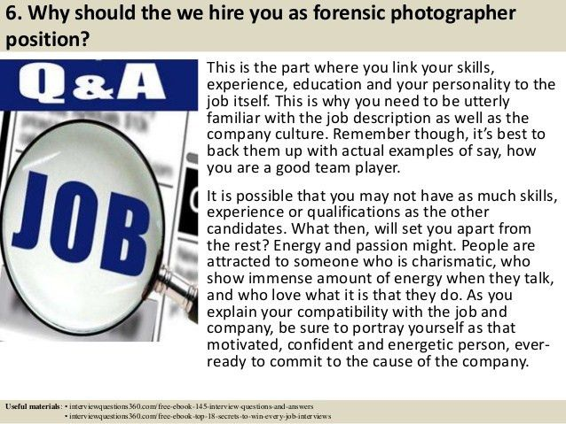 Top 10 forensic photographer interview questions and answers
