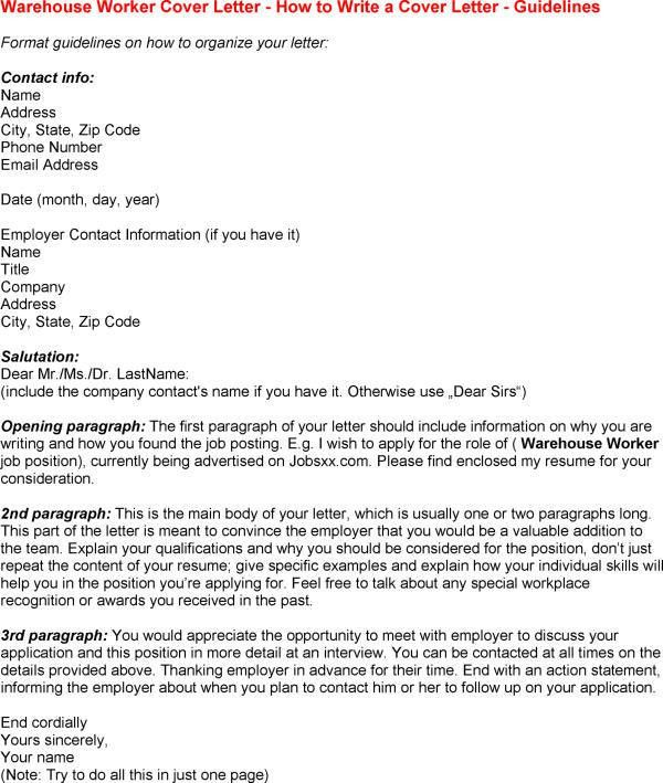 warehouse cover letter for resumes