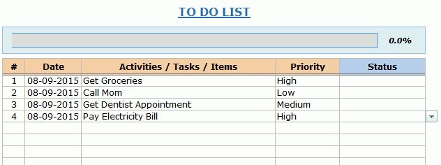 To Do List Excel Template | to do list template