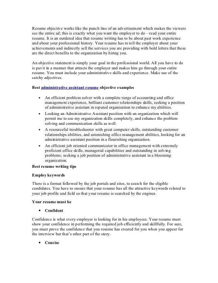 free sample objectives for resumes best resume objectives samples ...