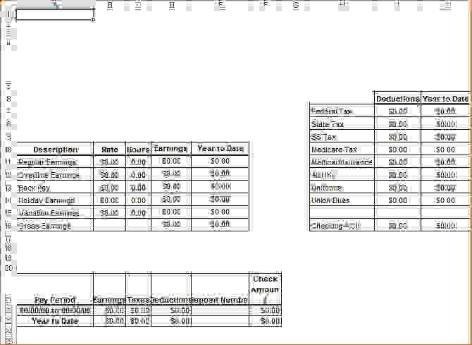 13 Pay Stub Template ExcelAgenda Template Sample | Agenda Template ...