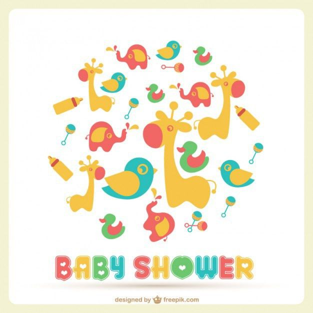 Baby shower card with a lot of toys Vector | Free Download