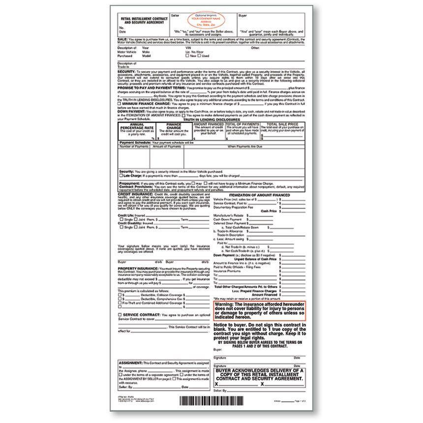 Imprinted Retail Installment Contract, Custom Printed Installment ...