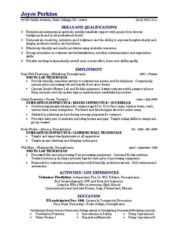 Resume Templates For College Students. College Resume Objectives ...