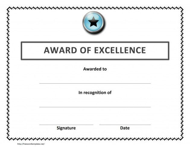 Certificate or Award of Excellence Template Design : Helloalive