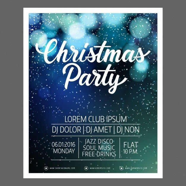 Fantastic christmas poster template with bokeh effect Vector ...