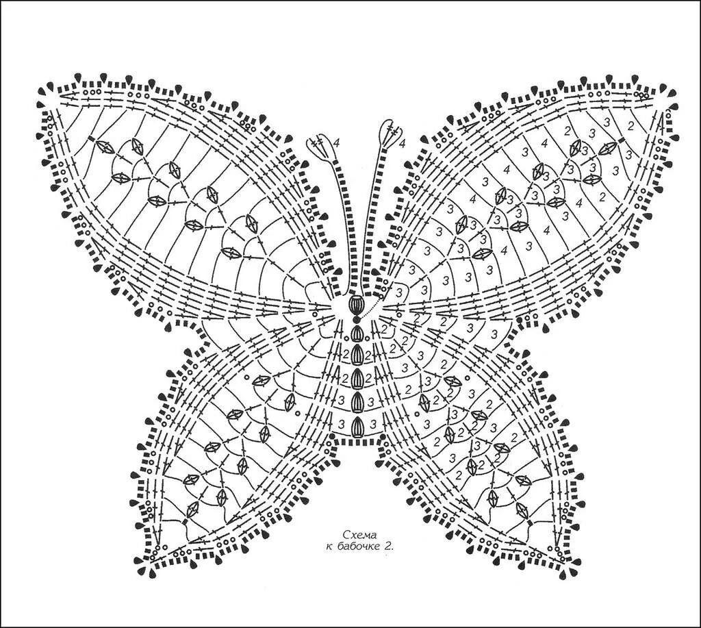 Бабочка на салфетку крючком схема