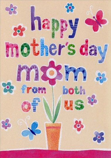 Sparkling Colorful Words and Flower Pot: Mom Mother's Day Card by ...