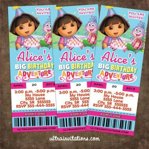 Dora the Explorer Birthday Ticket Invitations Printable Custom ...