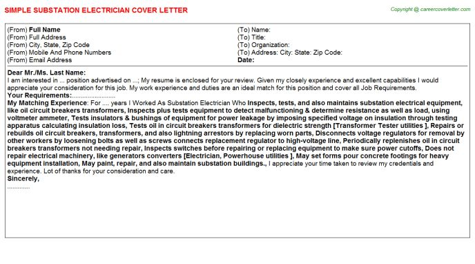 Substation Electrician Cover Letter