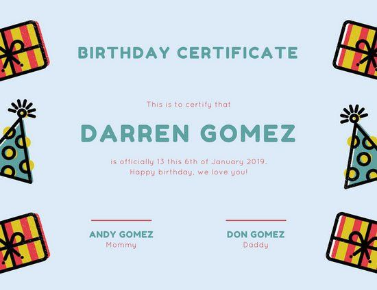 Blue and Red Gift Birthday Certificate - Templates by Canva