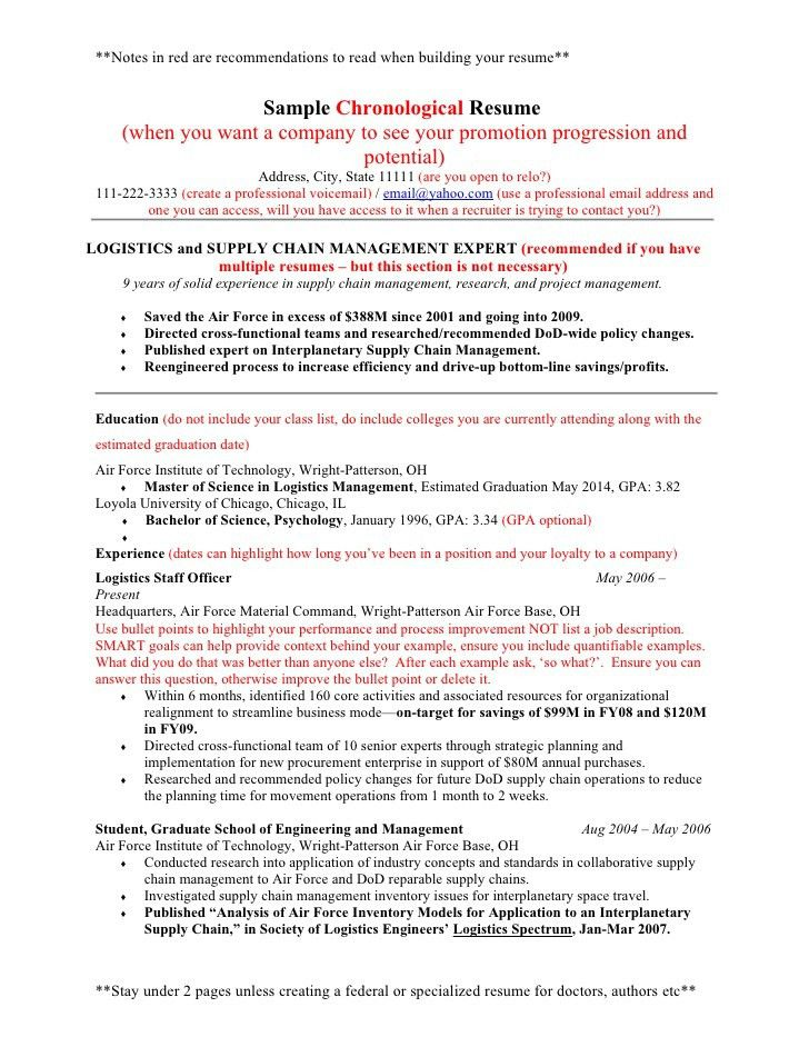 example resume - Air Force Resume Template