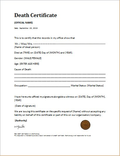 Death Certificate Template for MS WORD | Document Hub